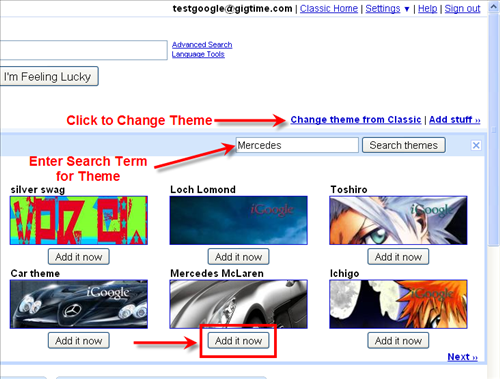How to add a theme to your iGoogle Page