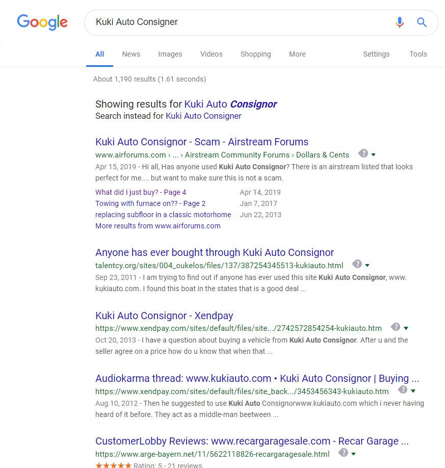 Google Search for Kuki Auto Consignor